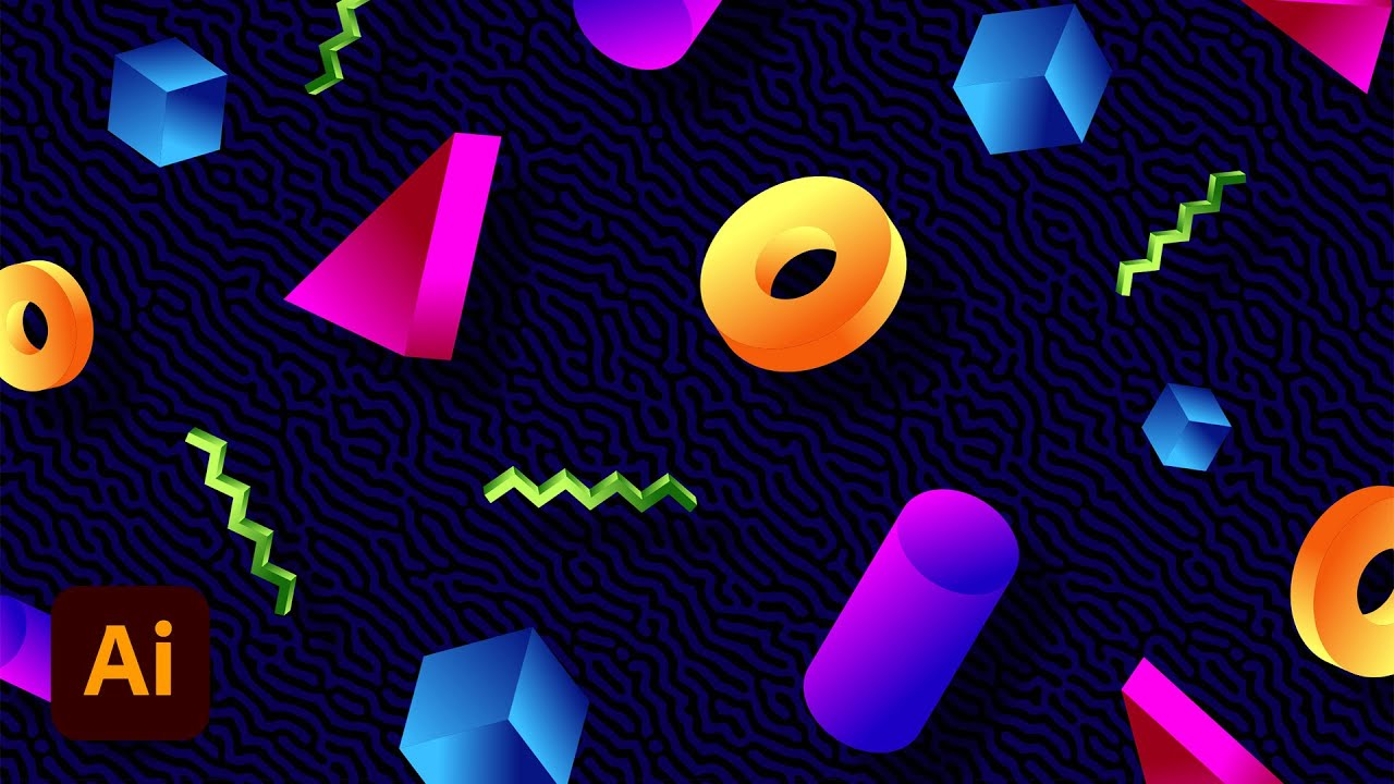 Illustrator Tutorial: 80s Memphis Style Pattern with Colourful 3D Shapes