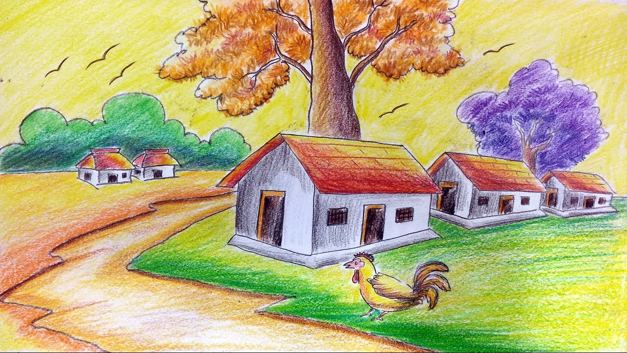 How to draw village scenery using colour pencils oil pastel for kids