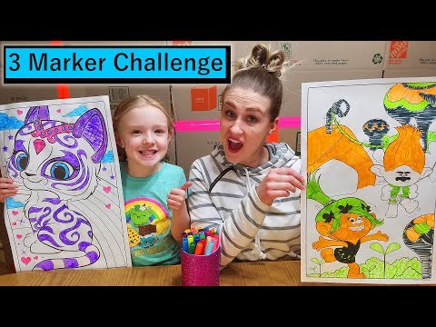 3 Marker Challenge w/ My Mom! GIANT Coloring Books! Trolls & Shimmer and Shine!!