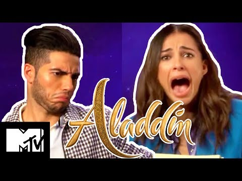 Aladdin Stars Mena Massoud & Naomi Scott Play Disney Movies Pictionary | MTV Movies