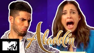 Aladdin Stars Mena Massoud & Naomi Scott Play Disney Movies Pictionary
