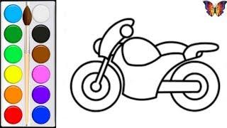 Как нарисовать ИГРУШКУ МОТОЦИКЛ, Раскраска ИГРУШКА МОТОЦИКЛ для детей. Раскраски Малышам.