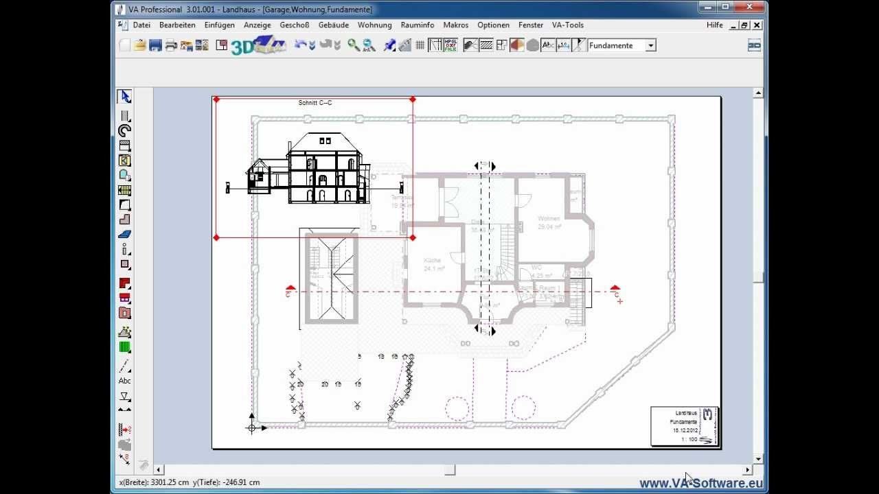 va tutorial 3 4 1 erzeugen von schnitten in 3d cad kompatibel zu va software arcon etc. Black Bedroom Furniture Sets. Home Design Ideas