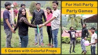 5 Party games for Kids party and Kitty party   with colourful props   Holi special (2019)