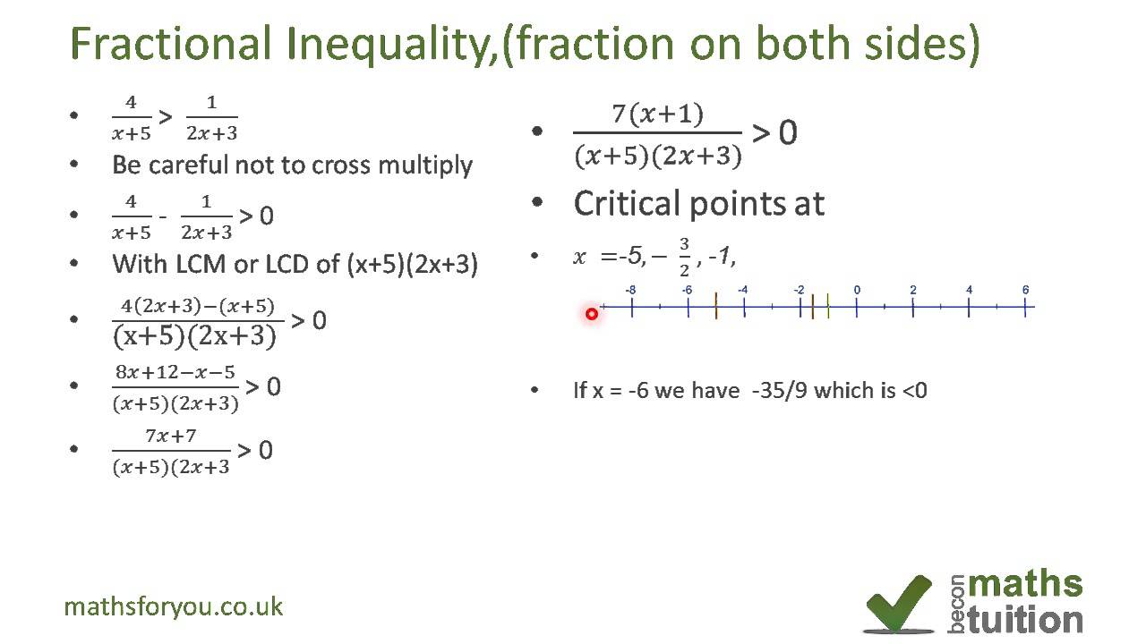 Worksheets Rational Inequalities Worksheet fractional inequality with fractions on both sides youtube