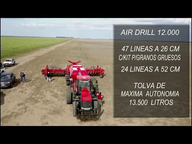 Sembradora Monumental Air Drill modelo 12000 con kit para granos gruesos. TRACTOR CASE.