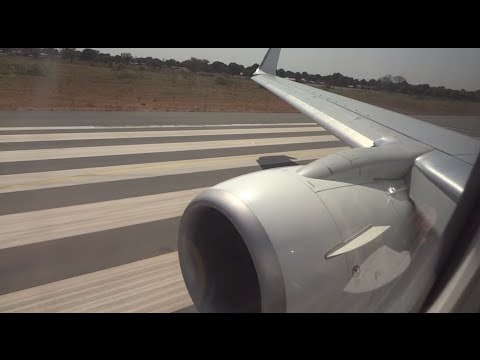 Transavia Take Off Banjul - The Gambia (good view & engine sound)