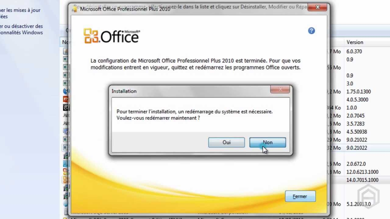 reparation des applications de la suite microsoft office