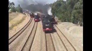 Funny Video - Train Race ( 4 Trains at the same time)