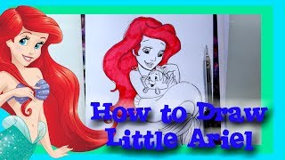 How to Draw Little ARIEL from Disney