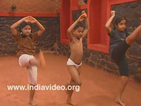 Children practicing exercises in Kalaripayattu