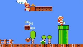 "[TAS] NES Super Mario Bros. Two Players Hack ""all items"" in 19:04.22"