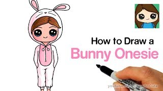 How to Draw a Cute Girl in a Bunny Onesie Easy
