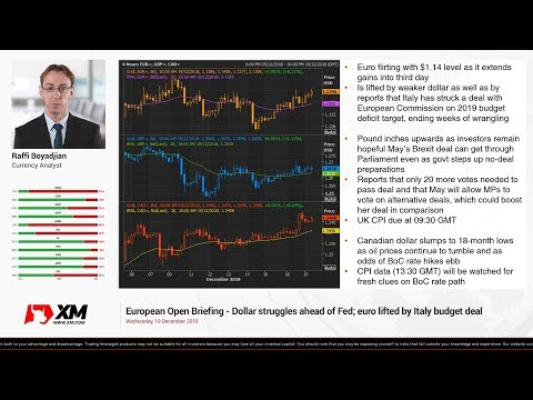 Forex News: 19/12/2018 - Dollar struggles ahead of Fed; euro lifted by Italy budget deal