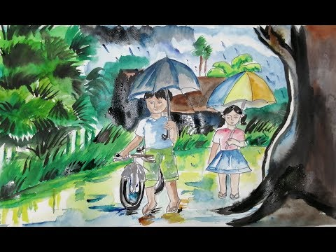 Easy Landscape Drawing With Water Color,/How To Draw Simple Scenery For Kids,/Rainy Day Street Scene