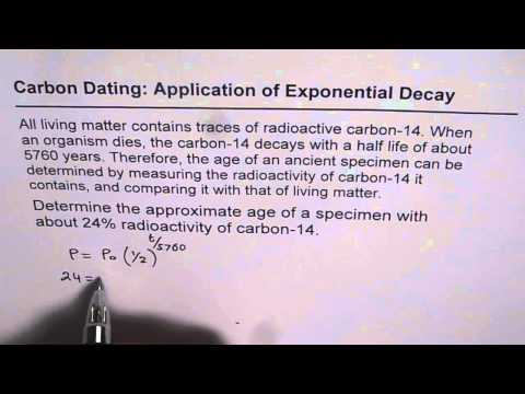 exponential decay radiocarbon dating