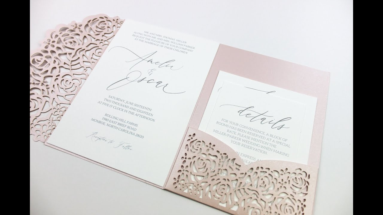 How to Assemble Pocket Wedding invitations - YouTube