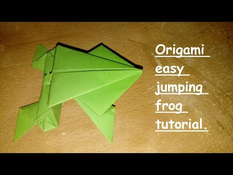How to make a origami easy paper folding jumping frog tutorial