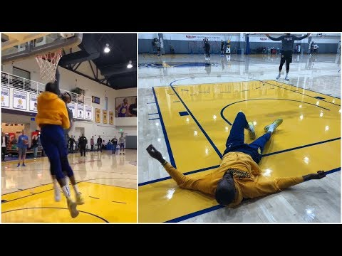 DeMarcus Cousins demolishes Kevin Durant at Warriors practice ! 😱