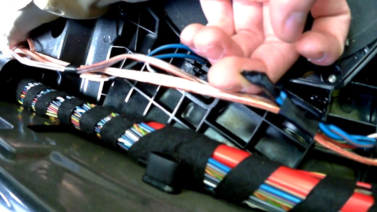 bmw 3 e90 cable from speakers in the front to an amplifier in the bmw e90 trunk wire harness  [ 1280 x 720 Pixel ]