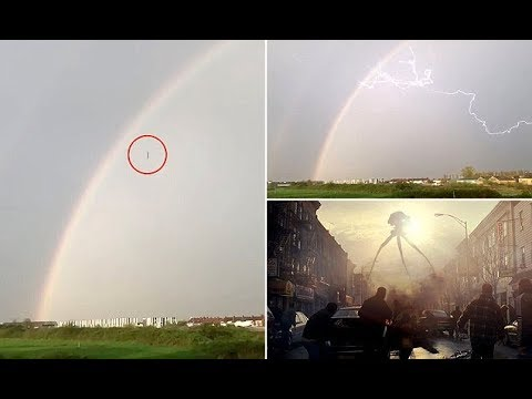 Black object falling from a rainbow baffles locals and has War of the Worlds fans excited