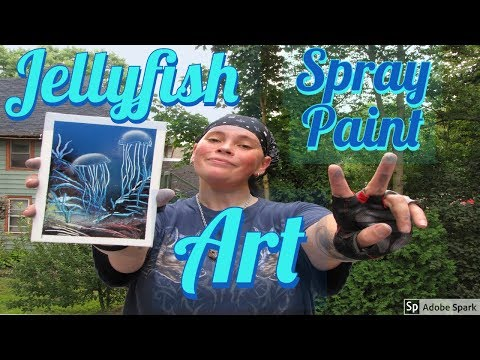 Jellyfish In The Ocean Spray Paint Art On Small Canvas – Spray Paint Art By Charli
