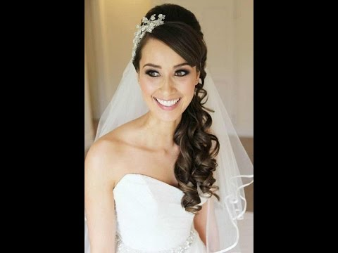 wedding hairstyles for long hair with veil and tiara - YouTube