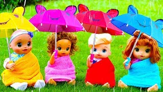 Rain Rain Go Away Song with Linda and Little Baby Dolls #2