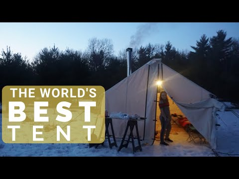 THE BEST TENT IN THE WORLD! (Winter Tent Camping & Setup In Freezing Weather- Wilderness Tent)