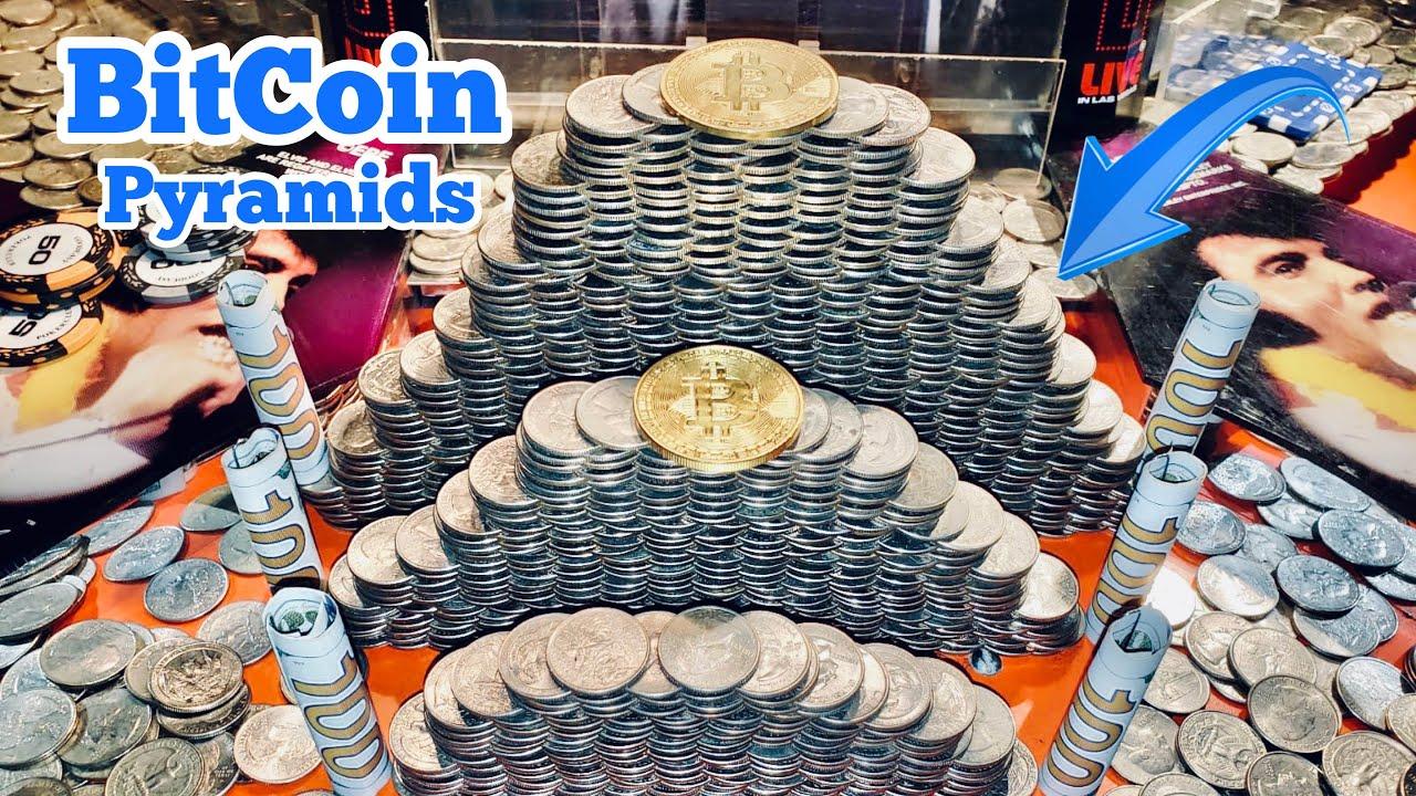 BITCOIN PYRAMIDS Inside The High Limit Coin Pusher Jackpot WON MONEY ASMR