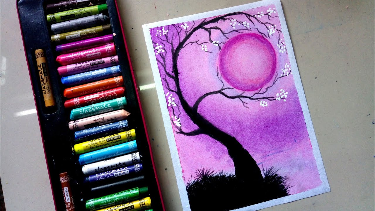 Beautiful Moonlight Scenery Drawing With Oil Pastel Tree Holding