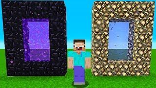 В Какой ПОРТАЛ Зайдет НУБ В МАЙНКРАФТ? Портал В АД Против Портал В РАЙ В Minecraft! Троллинг Мультик