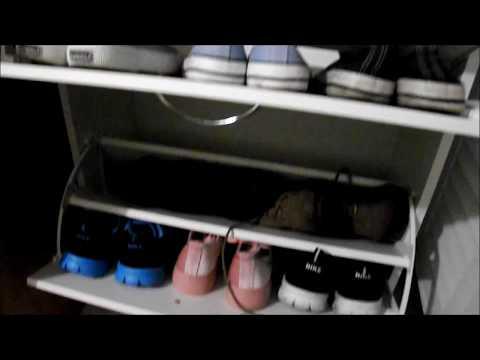 Scarpiera bianca in legno 3 ripiani per 6 paia di scarpe - sottile - HOMFA