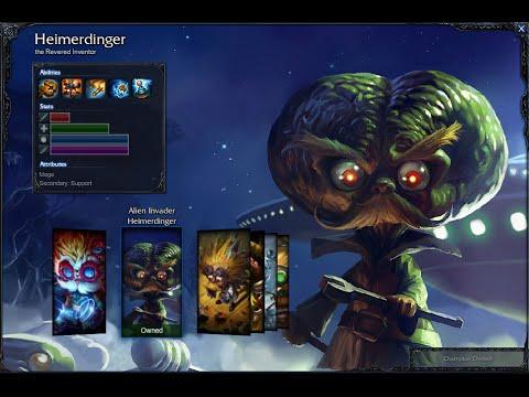 alien invader heimerdinger skin spotlight gameplay 1080p