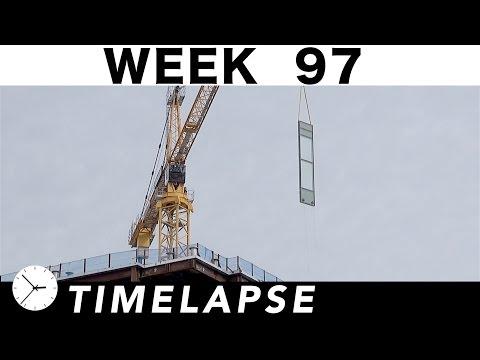 Construction time-lapse w/25 closeups Week 97: Concrete pump, curtain wall glass, excavators, cranes