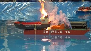 Explosion + Fire + Smoke on the water Many RC model ships rescue ♦ Modellbaumesse Wels 2016