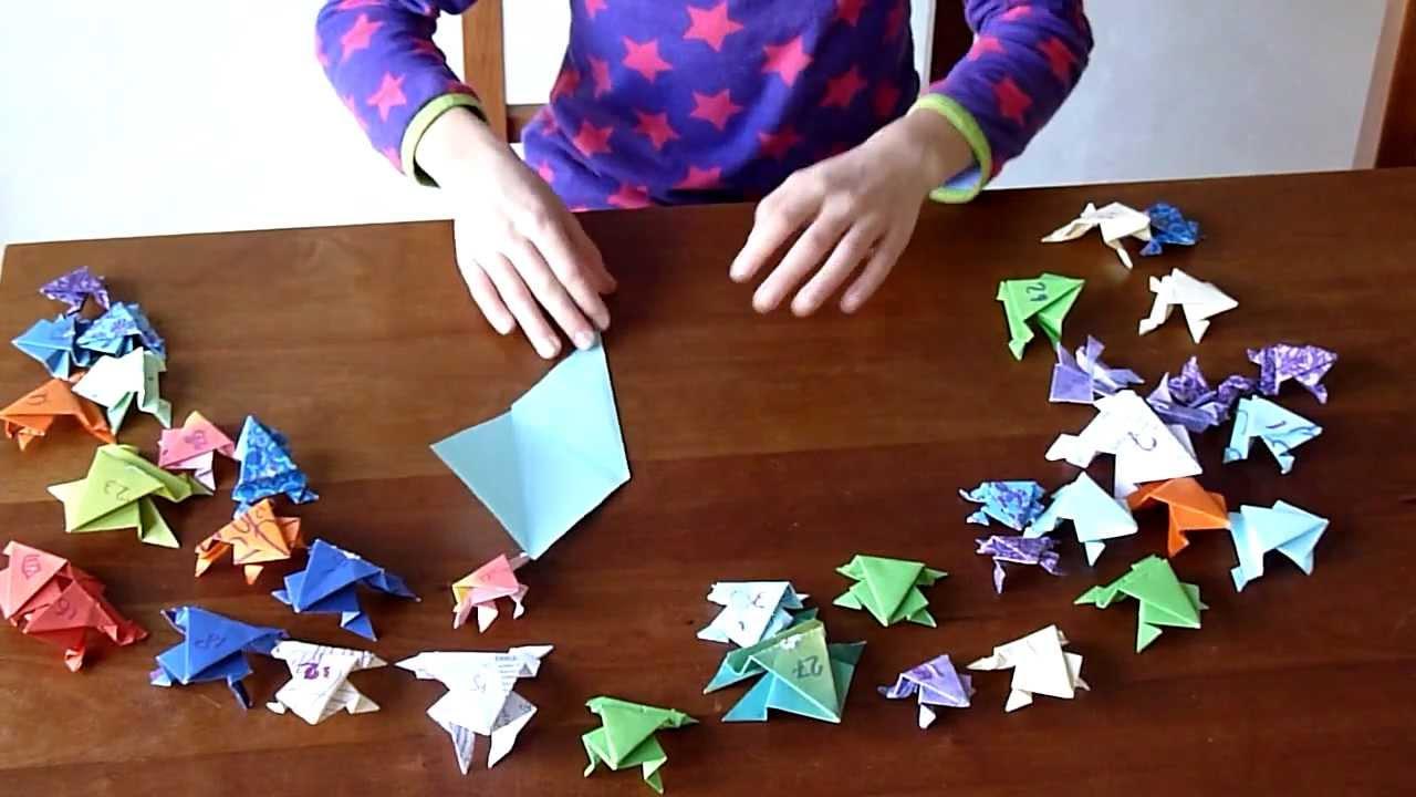 Springende Kikker Met Achterpoten Vouwen Van Papier Youtube