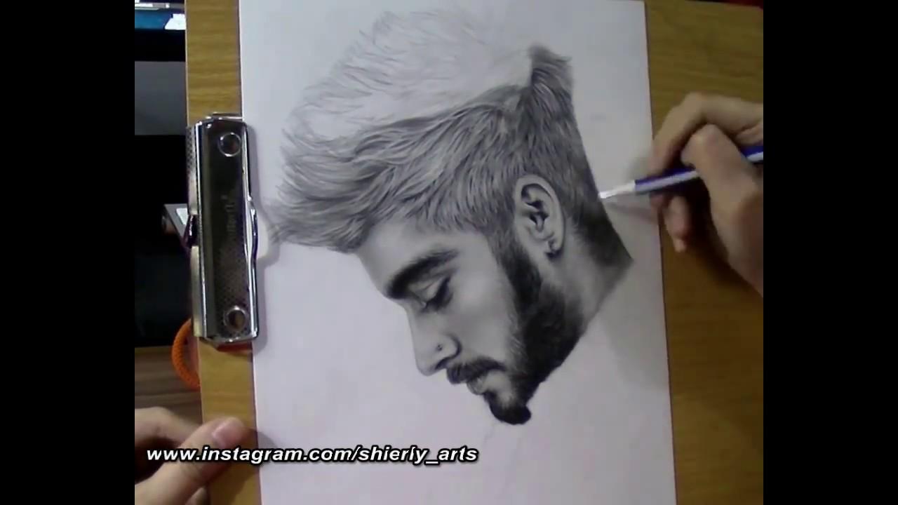 Realism portrait drawing of zayn malik youtube