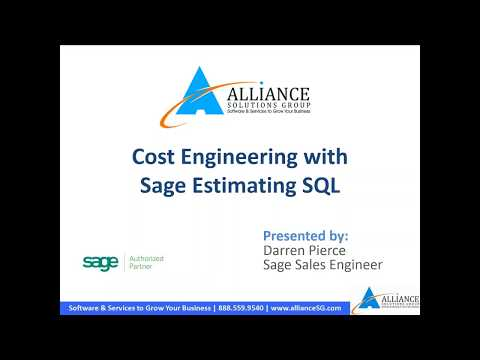 Cost Engineering with Sage Estimating v17.11 SQL