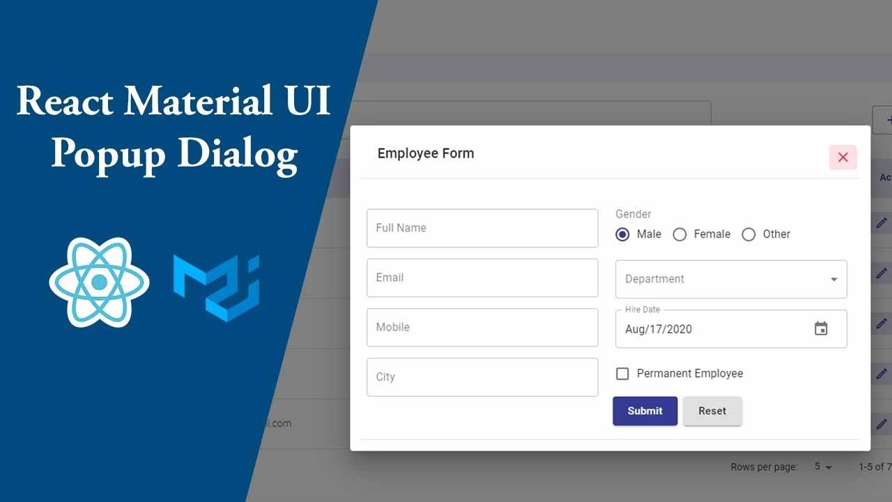 React Material UI Popup Dialog