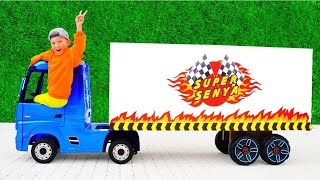 Senya drives a Big Truck and Helps Mom and Dad