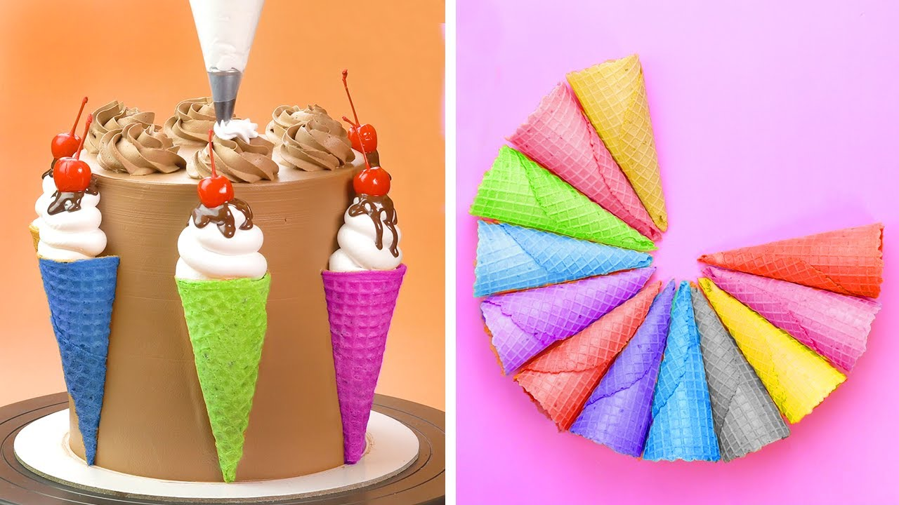 How To Make Chocolate Cake For Party | So Yummy Ice Cream Cone For Fresh Summer | Cake Lovers