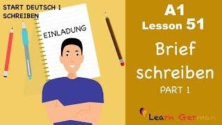 learn german brief schreiben einladung letter writing invitation a1 lesson 51