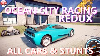 OCEAN CITY RACING REDUX - All Cars & Stunts - PC Gameplay Walkthrough 60FPS 1080p