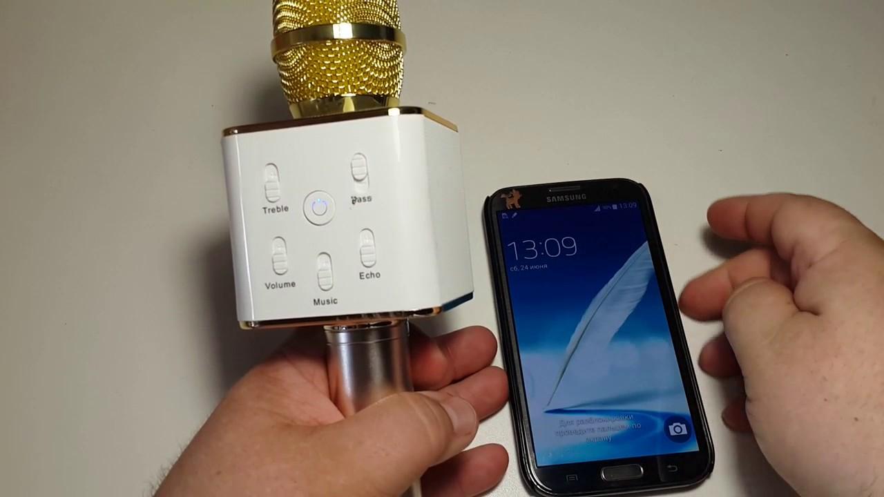 Блютуз Караоке Микрофон с колонками TUXUN Q7 PRO обзор на русском Bluetooth  home karaoke microphone 48b347091264e