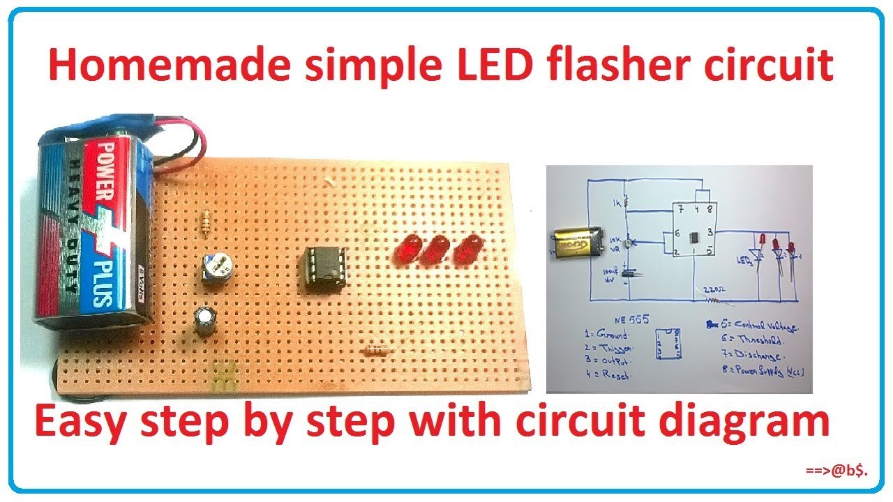 how to make simple led flasher circuit blinking flashing circuit simple led circuit diagram [ 1280 x 720 Pixel ]