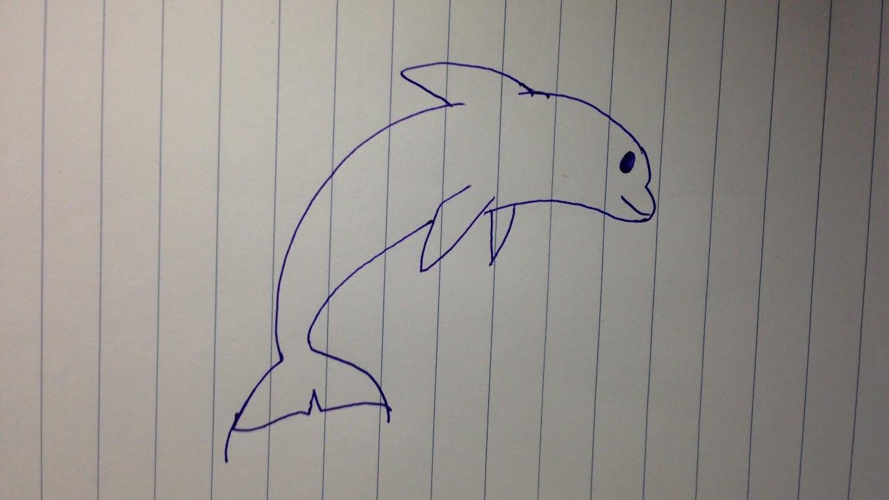 Cách vẽ con cá heo đơn giản cho bé học vẽ – How to draw dolphin easy