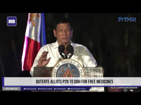 Duterte allots P2B to DOH for free medicines