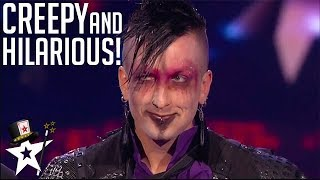 Creepy Magician Gets Sharon Osbourne laughing! | America's Got Talent | Magicians Got Talent
