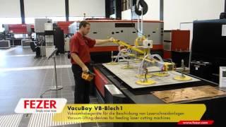 Вакуумный подъемник загружает листы в станок лазерной резки(Универсальные вакуумные подъемники VacuBoy для захвата листов металла, алюминия, каменных и бетонных блоков,..., 2016-04-13T09:38:28.000Z)